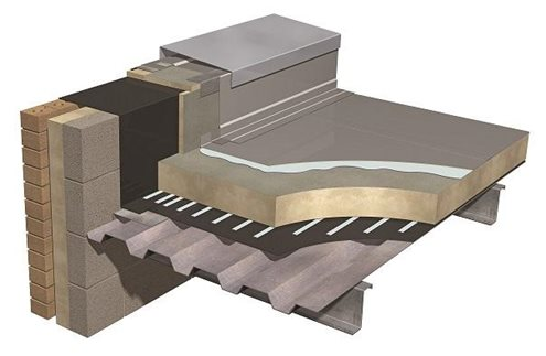 Illustration of a typical warm flat roof construction, featuring tissue faced PIR insulation boards on a steel structural deck.