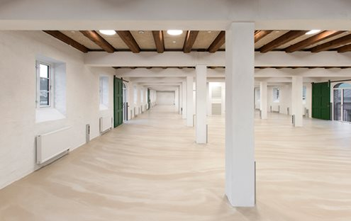 Resin comfort flooring installed in a commercial situation subject to busy use