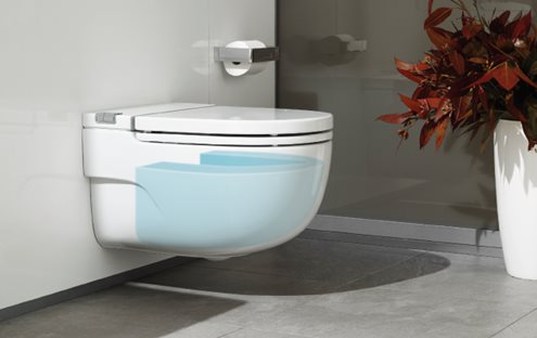 WC with integrated cistern